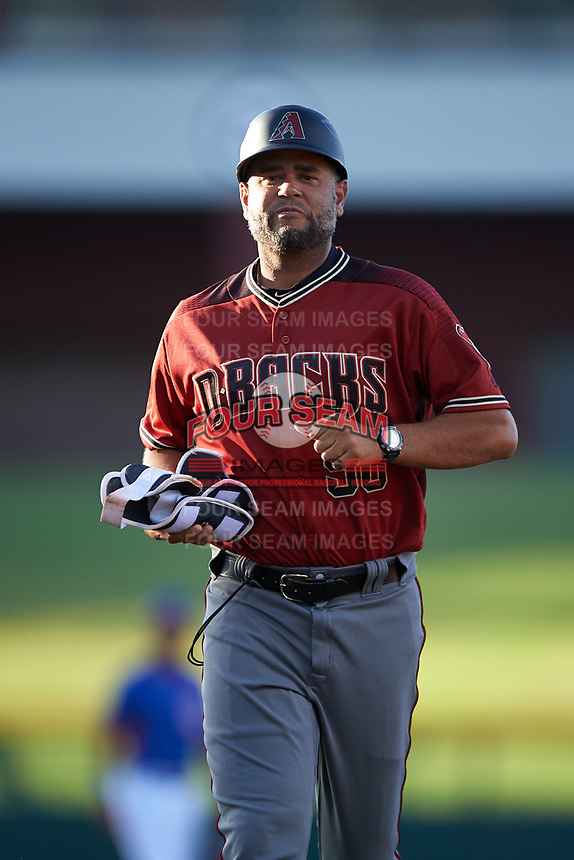 AZL Dbacks manager Wellington Cepeda (50) during an Arizona League game against the AZL Cubs 2 on June 25, 2019 at Sloan Park in Mesa, Arizona. AZL Cubs 2 defeated the AZL Dbacks 4-0. (Zachary Lucy/Four Seam Images)