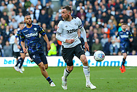 Derby County's Richard Keogh shields the ball from Leeds United's Kemar Roofe<br /> <br /> Photographer Alex Dodd/CameraSport<br /> <br /> The EFL Sky Bet Championship Play-off  First Leg - Derby County v Leeds United - Thursday 9th May 2019 - Pride Park - Derby<br /> <br /> World Copyright © 2019 CameraSport. All rights reserved. 43 Linden Ave. Countesthorpe. Leicester. England. LE8 5PG - Tel: +44 (0) 116 277 4147 - admin@camerasport.com - www.camerasport.com