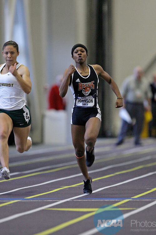 12 MAR 2011: Ashlynn Chavis of Methodist University (in white shirt) and first place finisher Erica Johnson of Buffalo State compete in the 55 meter dash during the Division III Men's and Women's Indoor Track and Field Championships held at the Capital Center Fieldhouse on the Capital University campus in Columbus, OH.  Jay LaPrete/NCAA Photos