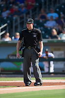 Home plate umpire Toby Basner during the International League game between the Gwinnett Braves and the ck\ at BB&T BallPark on July 16, 2017 in Charlotte, North Carolina.  The Knights defeated the Braves 5-4.  (Brian Westerholt/Four Seam Images)
