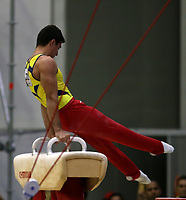 BARRANQUILLA - COLOMBIA, 23-07-2018: Carlos Calvo de Colombia durante su participación en gimnasia hombres modalidad caballo con arcos como parte de los Juegos Centroamericanos y del Caribe Barranquilla 2018. /  Carlos Calvo of Colombia during his participation in gymnastics men's pommel horse category as a part of the Central American and Caribbean Sports Games Barranquilla 2018. Photo: VizzorImage / Cont