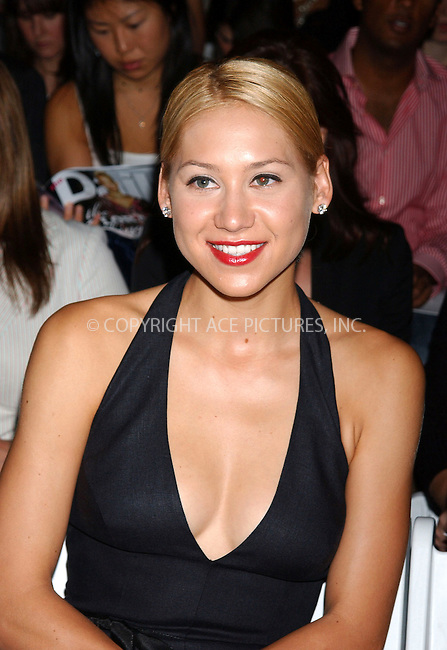 WWW.ACEPIXS.COM . . . . . ....NEW YORK, SEPTEMBER 13, 2005....Anna Kournikova at the Monique Lhuillier Spring 2006 Show held at Bryant Park.....Please byline: KRISTIN CALLAHAN - ACE PICTURES.. . . . . . ..Ace Pictures, Inc:  ..Craig Ashby (212) 243-8787..e-mail: picturedesk@acepixs.com..web: http://www.acepixs.com