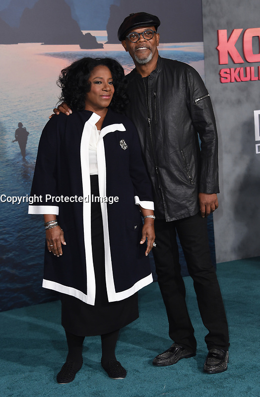 Samuel L. Jackson + wife Latanya Richardson @ the Los Angeles premiere of 'Kong: Skull Island' held @ the Dolby theatre.<br /> March 8, 2017 , Hollywood, USA. # PREMIERE DU FILM 'KONG : SKULL ISLAND' A LOS ANGELES