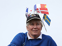 Lady sporting tEuropean flags ahead of the 2014 Ryder Cup at Gleneagles, Perthshire, Scotland 26th to 28th September 2014. Picture David Lloyd / www.golffile.ie.