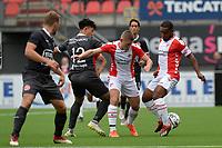 EMMEN - Voetbal, FC Emmen - Almere City, voorbereiding seizoen 2019-2020, 14-07-2019,  FC Emmen speler Lorenzo Burnet en FC Emmen speler Freddy Quispel