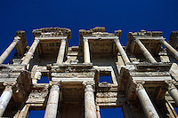 The Library of Celsus is an ancient Roman building in Ephesus, Anatolia, now part of Selçuk, Turkey. It was built in honor of the Roman Senator Tiberius Julius Celsus Polemaeanus (completed in 135 AD). The library was built to store 12,000 scrolls and to serve as a monumental tomb for Celsus.