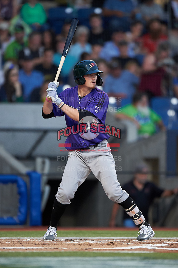 Boise Hawks Aaron Schunk (34) at bat during a Northwest League game against the Hillsboro Hops at Ron Tonkin Field on August 29, 2019 in Hillsboro, Oregon. Boise defeated Hillsboro 4-3. (Zachary Lucy/Four Seam Images)