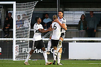 Aron Davies leaps into the arms of goalscorer, Robert Atkinson (No 6), to celebrate Fulham U23's second goal during Fulham Under-23 vs Manchester United Under-23, Premier League 2 Football at Motspur Park on 10th August 2018