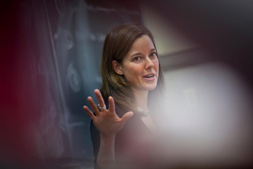 Lafayette College Professor Profile: Professor Alix Ohlin, Associate Professor of English teaches a class in Pardee Hall