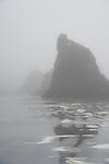 Haystacks in the fog on Ruby Beach