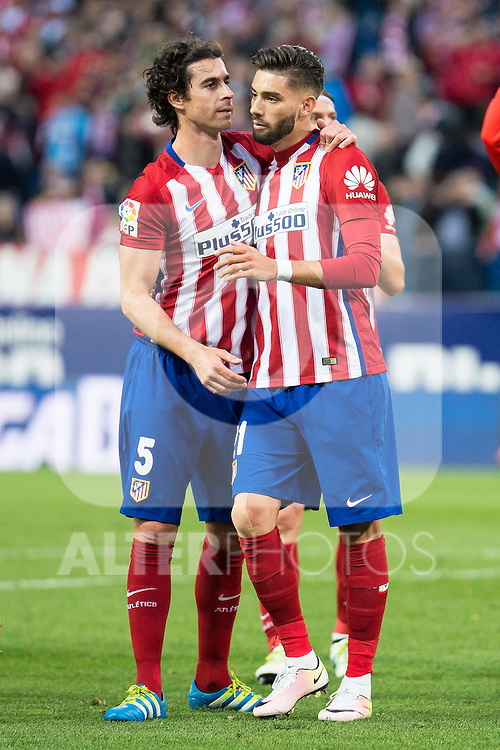 Atletico de Madrid's Tiago and Carrasco during La Liga Match at Vicente Calderon Stadium in Madrid. May 14, 2016. (ALTERPHOTOS/BorjaB.Hojas)