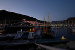 Dusk and reflections at Mogan harbour, Mogan, Canary Islands, Spain