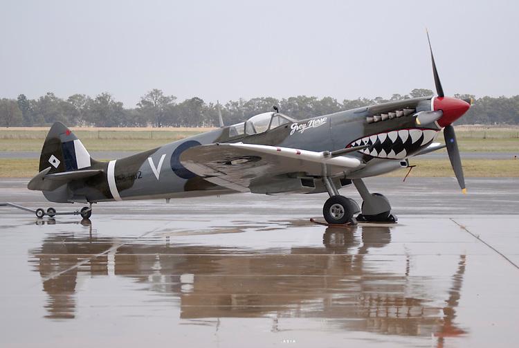 Supermarine Spitfire Mk.VIII, Grey Nurse, on display at the Temora Air Museum on a rainy day, Temora Australia