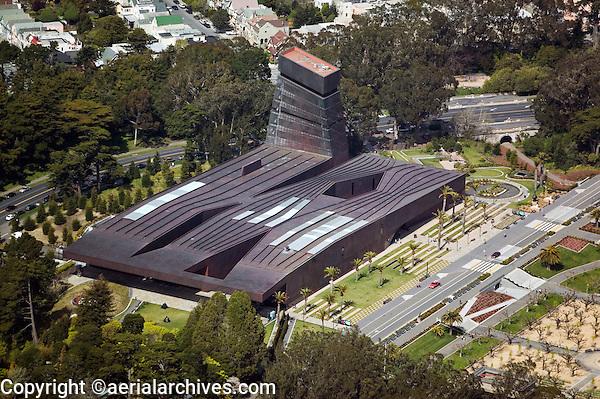 aerial photograph M. H. de Young fine art museum San Francisco California Golden Gate park, Jacques Herzog Pierre de Meuron