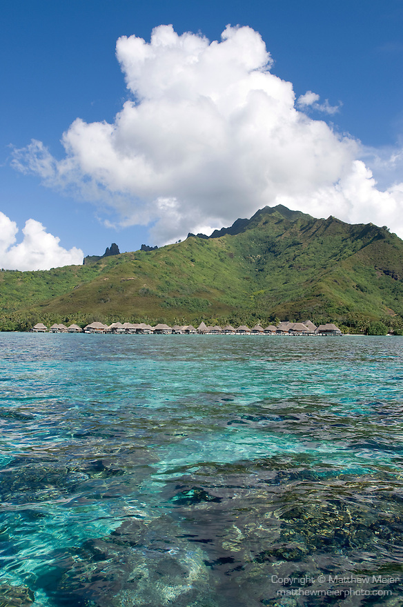 Moorea, French Polynesia; view of the Sheraton Hotel from the lagoon out front , Copyright © Matthew Meier, matthewmeierphoto.com All Rights Reserved
