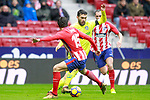 Atletico de Madrid's Stefan Savic (l) and Diego Godin and Getafe CF's Lucas Hernandez during La Liga match. January 6,2018. (ALTERPHOTOS/Acero)