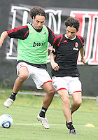 Alessandro Nesta and Mathieu Flaminii of AC Milan during a practice session at RFK practice facility in Washington DC on May 24 2010.