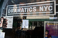 New York, New York City. New Yorkers are told to stay home during the corona virus, (COVID-19) so New York has become eerily empty. Business closed signs due to the coronavirus.