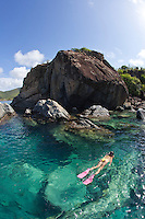 Snorkeler at the point of Great Lameshure Bay, Virgin Islands National Park<br />