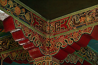 Art in Buddhist Monastery architecture in Sikkim, India - hand crafted and painted door