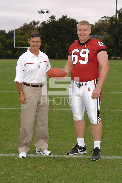 7 August 2006: Stanford Cardinal head coach Walt Harris and Preston Clover during Stanford Football's Team Photo Day at Stanford Football's Practice Field in Stanford, CA.