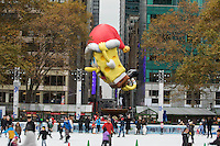 NEW YORK, NY - NOVEMBER 24:  SpongeBob SquarePants balloon floats at the 90th annual Macy's Thanksgiving Day Parade near to Bryant Park ice rink on November 24, 2016 in New York City.  Photo by VIEWpress/Maite H. Mateo.