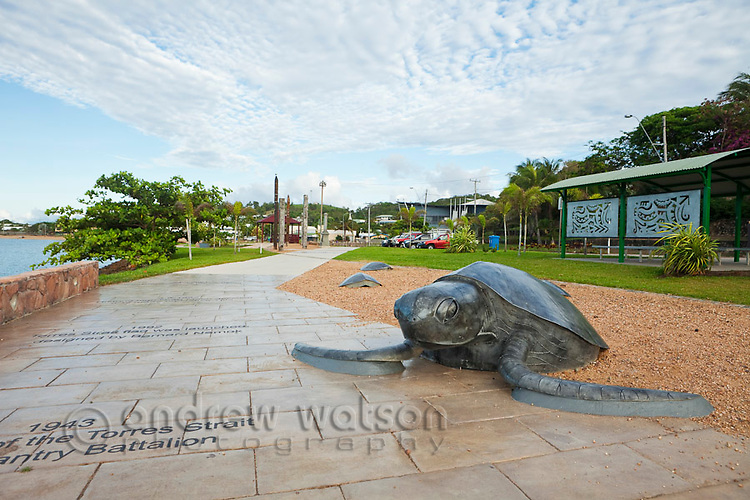 Sea turtle sculpure on the Victoria Parade foreshore.  Thursday Island, Torres Strait Islands, Queensland, Australia
