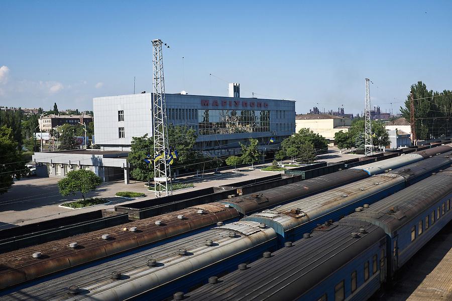 UKRAINE, Mariupol: Mariupol railway station.