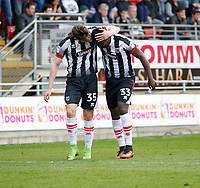 GOAL - Grimsby Town's Akwasi Asante  is congratulated for his goal during the Sky Bet League 2 match between Leyton Orient and Grimsby Town at the Matchroom Stadium, London, England on 11 March 2017. Photo by Carlton Myrie / PRiME Media Images.