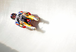 6 February 2009: Anastasia Young from the USA slides through a curve in the Women's Competition finishing in 14th place for the event with a combined time of 1:29.626 at the 41st FIL Luge World Championships, in Lake Placid, New York, USA. .  .Mandatory Photo Credit: Ed Wolfstein Photo