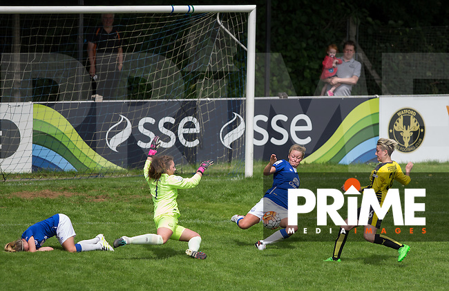 A goalmouth scramble during a Watford attack during the FAWSL2 match between Watford Ladies and Everton Ladies at Berkhamsted FC, Broadwater, England on 26 June 2016. Photo by Andy Rowland.