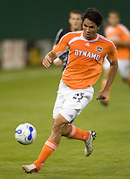 Brian Ching dribbles the ball. D.C. United defeated the Houston Dynamo 2-0 at RFK Stadium in Washington, D.C. on April 15, 2006