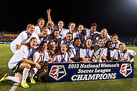 The Portland Thorns pose for a photo. The Portland Thorns defeated the Western New York Flash 2-0 during the National Women's Soccer League (NWSL) finals at Sahlen's Stadium in Rochester, NY, on August 31, 2013.
