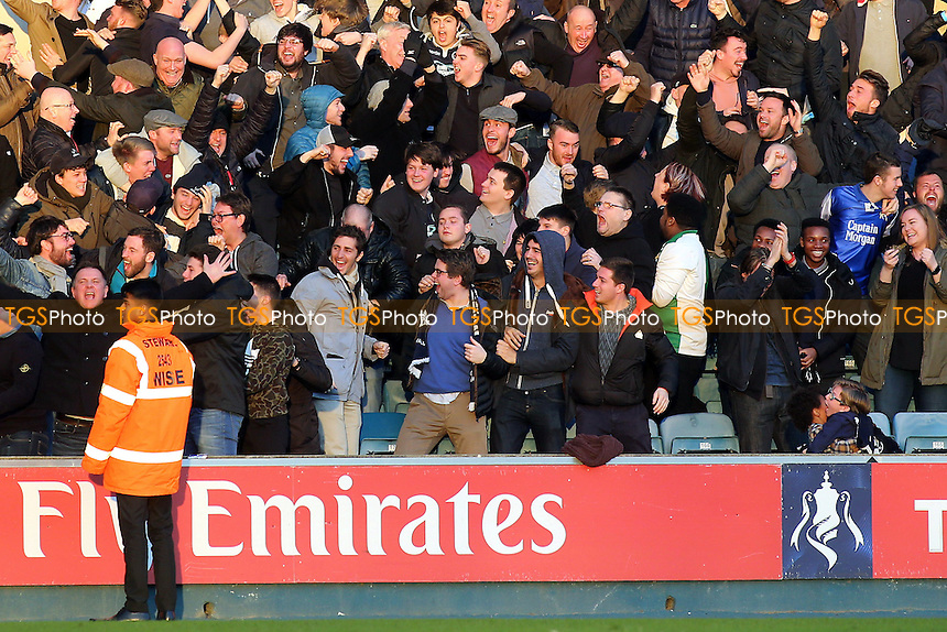 Millwall fans celebrate their opening goal during Millwall vs Leicester City, Emirates FA Cup Football at The Den on 18th February 2017