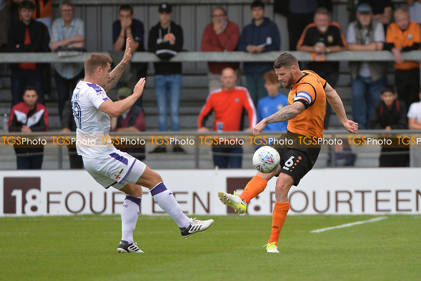 James Collins of Luton Town challengers Michael Nelson of Barnet during Barnet vs Luton Town, Sky Bet EFL League 2 Football at the Hive Stadium on 12th August 2017