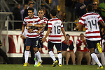 11 September 2012: Herculez Gomez (USA) (9) celebrates his goal with Geoff Cameron (USA) (behind), Jose Francisco Torres (USA) (16) and Danny Williams (USA) (14). The United States Men's National Team defeated the Jamaica Men's National Team 1-0 at Columbus Crew Stadium in Columbus, Ohio in a CONCACAF Third Round World Cup Qualifying match for the FIFA 2014 Brazil World Cup.