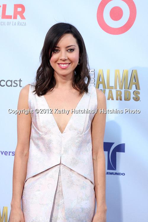 LOS ANGELES - SEP 16:  Aubrey Plaza arrives at the 2012 ALMA Awards at Pasadena Civic Auditorium on September 16, 2012 in Pasadena, CA