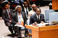 Mali's Foreign Minister Abdoulaye Diop (R ) speaks to Members of the Security Council related to the precarious security situation in Mali, at the United Nations Headquarter in New York, 01/11/2016 Photo by VIEWpress