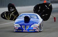 Feb. 11, 2012; Pomona, CA, USA; NHRA pro stock driver Kurt Johnson during qualifying for the Winternationals at Auto Club Raceway at Pomona. Mandatory Credit: Mark J. Rebilas-