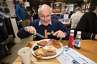 Former Royal Engineers veteran Wally Rees, 74 of Bingham, tucks into a big breakfast