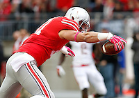 Ohio State Buckeyes tight end Nick Vannett (81) scores a touchdown during the second quarter of the NCAA football game against the Rutgers Scarlet Knights at Ohio Stadium in Columbus on Oct. 18, 2014. (Adam Cairns / The Columbus Dispatch)