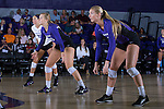 (L-R) Amy Pilat (23), Haley Barnes (20), and Megan Kennedy (6) of the High Point Panthers wait for a serve during the match against the Liberty Flames at the Millis Athletic Center on September 23, 2016 in High Point, North Carolina.  The Panthers defeated the Flames 3-1.   (Brian Westerholt/Sports On Film)