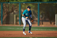 AZL Mariners first baseman Nolan Perez (5) during an Arizona League game against the AZL D-backs on July 3, 2019 at Salt River Fields at Talking Stick in Scottsdale, Arizona. The AZL D-backs defeated the AZL Mariners 3-1. (Zachary Lucy/Four Seam Images)