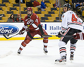 Swedes Alex Fallstrom (Harvard - 16) and Ludwig Karlsson (Northeastern - 45) - The Harvard University Crimson defeated the Northeastern University Huskies 3-2 in the 2012 Beanpot consolation game on Monday, February 13, 2012, at TD Garden in Boston, Massachusetts.
