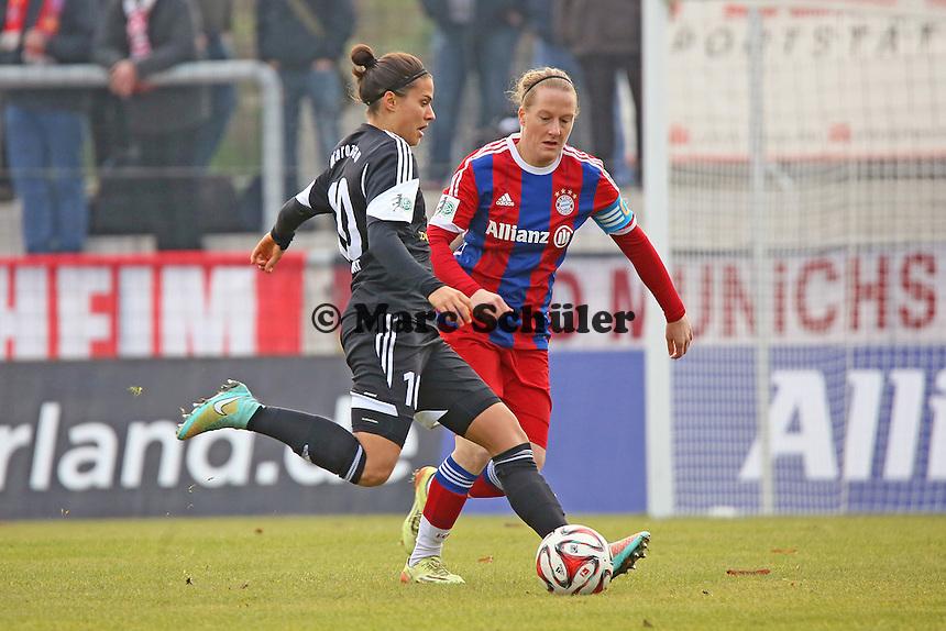 Dzsenifer Marozsan (FFC) gegen Melanie Behringer (Bayern)  - 1. FFC Frankfurt vs. FC Bayern Muenchen, Stadion am Brentanobad