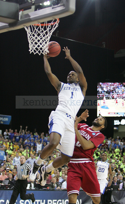 UK senior Darius Miller puts up a finger roll in transition during the UK vs. Indiana South Regional Semifinals at the Georgia Dome in Atlanta,  March 23, 2012. Photo by Brandon Goodwin   Staff