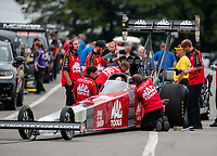 Sep 14, 2018; Mohnton, PA, USA; Crew members for NHRA top fuel driver Doug Kalitta during qualifying for the Dodge Nationals at Maple Grove Raceway. Mandatory Credit: Mark J. Rebilas-USA TODAY Sports