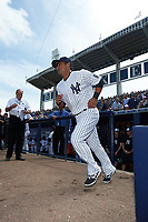 New York Yankees third baseman Donovan Solano (26) is introduced before a Spring Training game against the Detroit Tigers on March 2, 2016 at George M. Steinbrenner Field in Tampa, Florida.  New York defeated Detroit 10-9.  (Mike Janes/Four Seam Images)