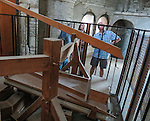 VMI Vincentian Heritage Tour: Massive bellows of the pipe organ inside the Saint-Philibert de Tournus church, a former Benedictine abbey. Members of the VMI toured the site Wednesday, June 29, 2016, as they visited the town of Tournus in southern France. (DePaul University/Jamie Moncrief)
