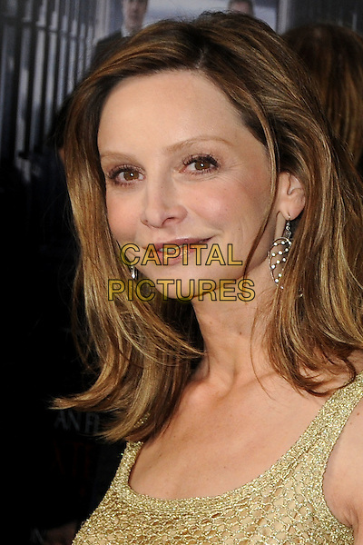 "CALISTA FLOCKHART.""Extraordinary Measures"" Los Angeles Premiere held at Grauman's Chinese Theatre, Hollywood, California, USA..January 19th, 2010.headshot portrait gold beige .CAP/ADM/BP.©Byron Purvis/AdMedia/Capital Pictures."